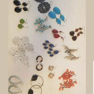 Boho earrings 15 pair dangles hoops costume